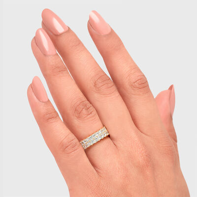 5.00 Carat My Girl Double Row Diamond Eternity Ring In 18K Yellow Gold, , large image number null