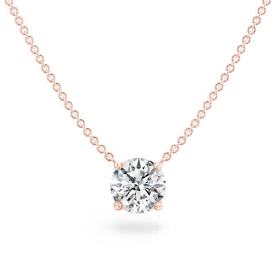 Classic 4 Prong Solitaire Diamond Necklace in 18K Rose Gold, , large image number null