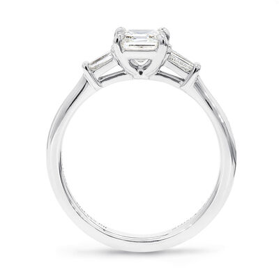 The Shimansky Dahlia Square Emerald Diamond Engagement Ring in Platinum, , large image number null