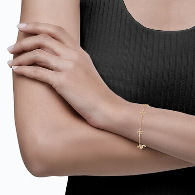 Southern Cross Diamond Station Bracelet in 14K Yellow Gold, , large image number null