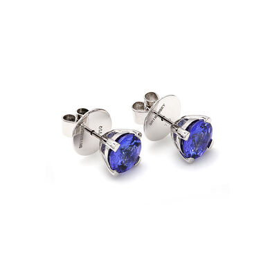 3.68 Carat 4 Prong Classic Tanzanite Stud Earrings in 18K White Gold, , large image number null