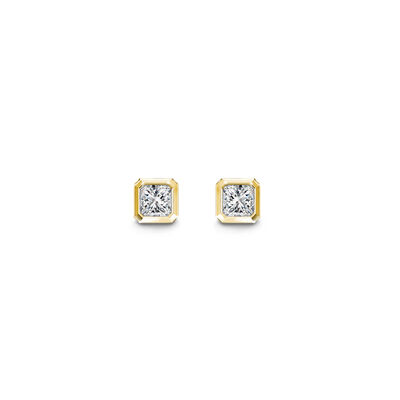 My Girl Diamond Tube Set Solitaire Stud Earrings In 18K Yellow Gold , , large image number null