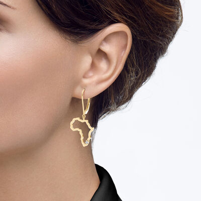 My Africa Diamond Dangle Earrings in 14K Yellow Gold, , large image number null