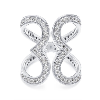 Two Hearts Diamond Statement Ring in 18K White Gold, , large image number null