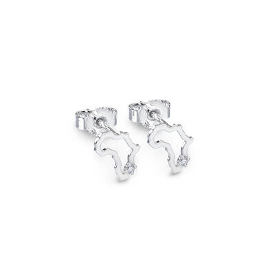 My Africa Diamond Petite Stud Earrings in 14K White Gold, , large image number null