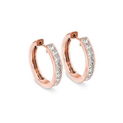 My Girl Medium Diamond Channel Set Hoops in 18K Rose Gold, , large image number null