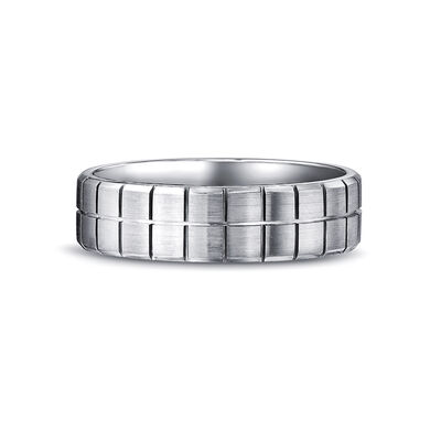 Max-Line Block Grooved Wedding Band in Brushed Palladium, , large image number null