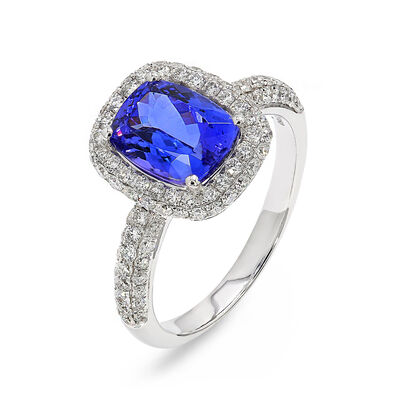 2.53 Carat Tanzanite and Pavé Diamond Halo Ring in 18K White Gold, , large image number null
