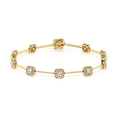 My Girl Diamond Halo Station Bracelet in 18K Yellow Gold, , large image number null