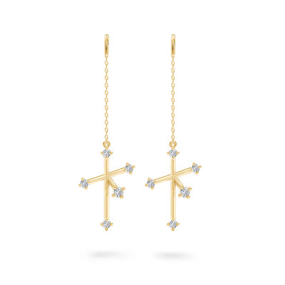 Southern Cross Diamond Drop Earrings in 14K Yellow Gold, , large image number null