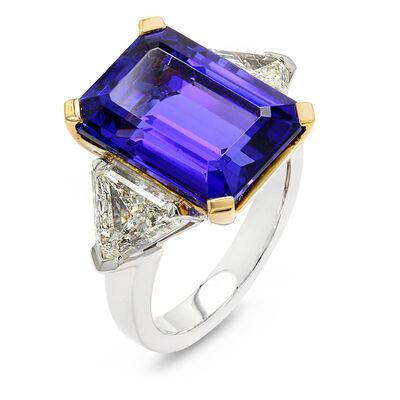 11.87 Carat Tanzanite Ring with Diamonds in 18K White and Yellow Gold, , large image number null