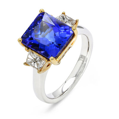 5.31 Carat Tanzanite Ring with Diamonds in 18K White and Yellow Gold, , large image number null