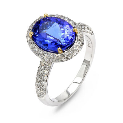 3.65 Carat Tanzanite and Pavé Diamond Halo Ring in 18K White and Yellow Gold, , large image number null