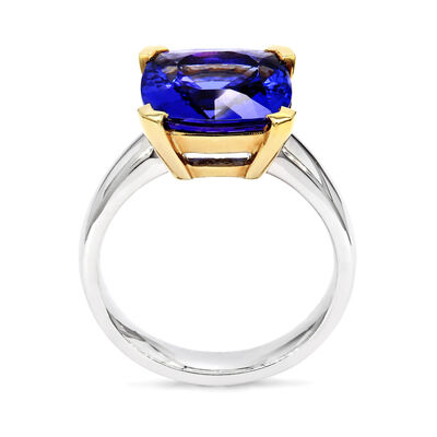 5.42 Carat Tanzanite Solitaire Ring in 18K White and Yellow Gold, , large image number null