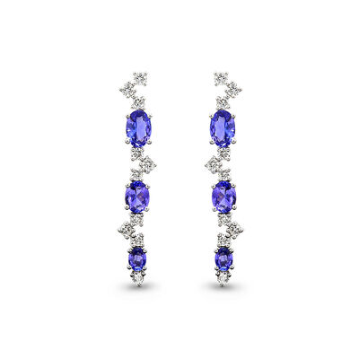 1.76 Carat Tanzanite and Diamond Drop Earrings in 18K White Gold, , large image number null