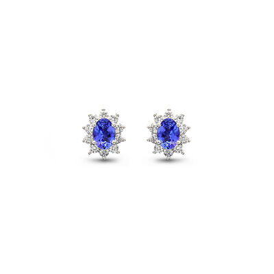 1.38 Carat Cluster Design Tanzanite and Diamond Stud Earrings in 18K White Gold, , large image number null