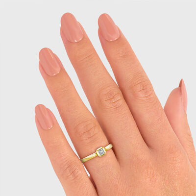 My Girl Bezel Set Diamond Ring in Brushed 18K Yellow Gold, , large image number null