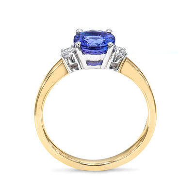 1.28 Carat Tanzanite 3 Stone Ring with Diamonds in 18K White and Yellow Gold, , large image number null