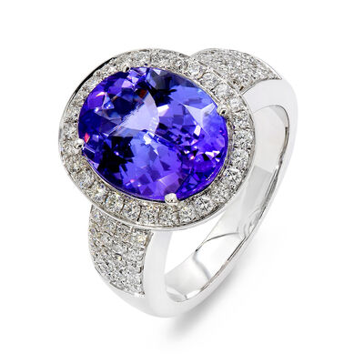 5.00 Carat Tanzanite and Pavé Diamond Halo Ring in 18K White Gold, , large image number null