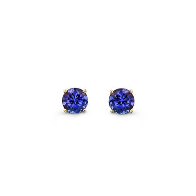 3.02 Carat 4 Prong Classic Tanzanite Stud Earrings in 18K Yellow Gold, , large image number null