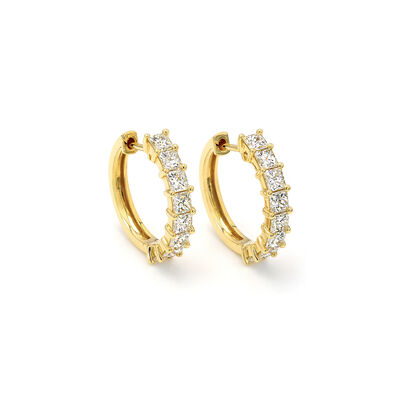My Girl Small Diamond Hoops in 18K Yellow Gold, , large image number null