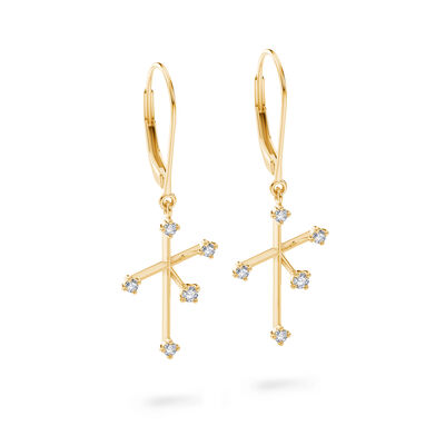 Southern Cross Diamond Dangle Earrings in 14K Yellow Gold, , large image number null
