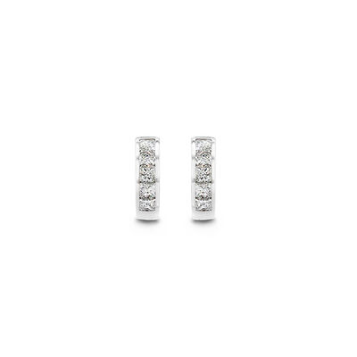 My Girl Diamond Channel Set Huggie Earrings in Platinum, , large image number null