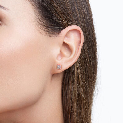 My Girl Diamond Halo Studs in 18K Rose Gold, , large image number null